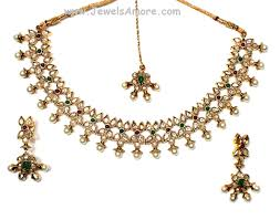 green stone necklace set images Traditional antique finish temple jewelry necklace set with jpg
