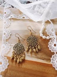 arabian earrings gold bronze bohemian earrings for metal drops boho filigree