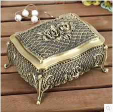 vintage necklace box images European style creative rose alloy ring box jewelry box vintage jpg