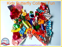 rainbow butterfly collage for preschool crafts