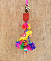 Home Decor Online Stores India by Multicolor Tassel Parrot And Pompom Handmade Boho Bag Charm