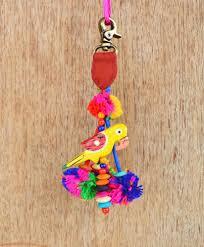 multicolor tassel parrot and pompom handmade boho bag charm