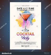 cocktail party flyer watercolor sketchstyle stock vector 620424401