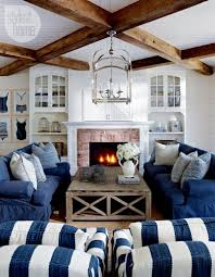 Cottage Living Room Beach Style Cottage Living Room I Love The Stripes Blue And