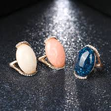gold coloured rings images Rose gold color rings blue long elliptic engagement rings for jpg
