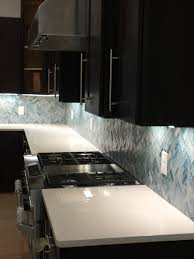 Herringbone Kitchen Backsplash Blue Tile Backsplash With White Quartz Counter Tops Backsplash