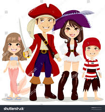 Family Of Four Halloween Costumes by Four People Family Celebrating Halloween Holiday Stock Vector