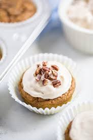 maple frosting sweetened pumpkin cupcakes with maple cream cheese frosting