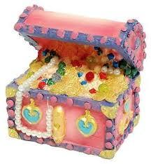 pink princess treasure chest aquarium ornament fish tank