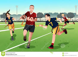 Flag Football Play Designer Young People Playing Flag Football Stock Vector Illustration