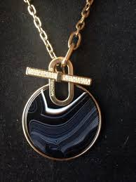 black agate necklace images Michael kors black agate quartz pave crystal necklace mkj4607710 jpg