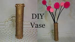 Decorate Flower Vase Cardboard Vase Cardboard Roll Vase Tutorial Craft Out Of Waste