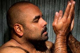 A portrait of an Aboriginal man in his shower