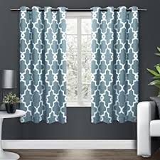 Lattice Design Curtains 2 63 Inch Teal Blue White Moroccan Curtains