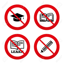graduation signs no ban or stop signs pencil and open book icons graduation