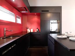 kitchen wall design with red decor ideas and brown floor adorable