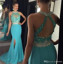 2016 prom dresses long crystals beaded halter neck lace