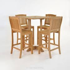 Teak Bar Table Square Bar Table Set With 4 Chairs Outdoor Dining Sets Teak