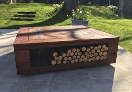 Wood Burning Firepit by Wood Burning Fire Pit Bioethanol Wooden With Barbecue