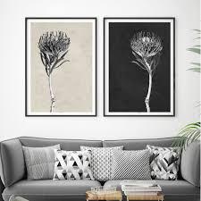 set 2 modern botanical art prints floral prints minimalist