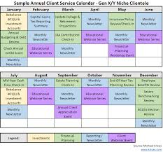 crafting an annual financial planning service calendar