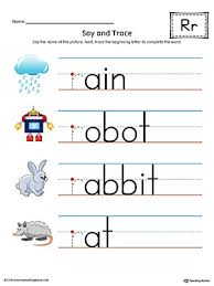 say and trace letter r beginning sound words worksheet color