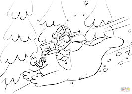 frosty and karen slide down a snowy hill coloring page free