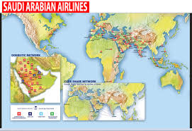 Spirit Route Map by International Flights Saudi Arabian Airlines Route Map