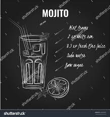 mojito recipe card mojito cocktail recipe white handdrawn illustration stock vector