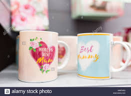 s day mugs for sale in a supermarket stock photo
