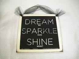 dream sparkle shine wooden wall art sign teen girls bedroom decor