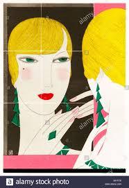 fashion illustration 1930 classic contemporary art deco painting fashion illustration 1930 classic contemporary art deco painting of a woman admiring herself in the mirror