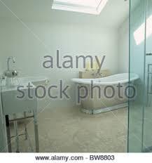 Bathroom In Loft Conversion Freestanding Bath In Loft Conversion Bedroom Stock Photo Royalty