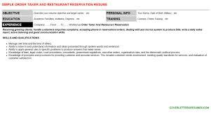 Resume Objective For Restaurant Order Taker And Restaurant Reservation Cover Letter U0026 Resume