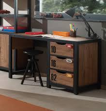 Schreibtisch Mit Schubladen Schreibtisch Alex 3 Schubladen Kiefer Cognacfarbig Schwarz