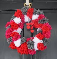 Homemade Pom Pom Decorations Two It Yourself Diy Pom Pom Yarn Wreath On A Wire Hanger