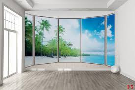 mural ellipse window with coast and palms 2 wallpapers mural ellipse window with coast and palms 2