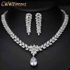 fashion jewelry necklace set images Cwwzircons luxury bridal costume jewelry big teardrop zirconia jpg