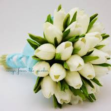 silk wedding flower packages real touch tulips bridal bouquet white light blue ribbon tulip