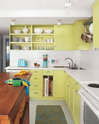 Open Plan Galley Kitchen Kitchen Open Plan Lime Green Kitchen Decor With Big Bar Table
