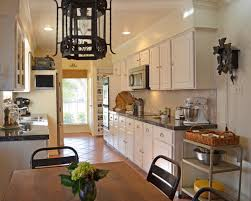 dark brown color wooden island decorate kitchen counter space
