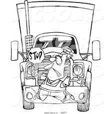 tractor trailer coloring pages vector of a cartoon big rig hitting a crossing guard coloring