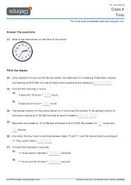 year 4 math worksheets and problems time edugain australia