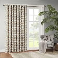 Patio Door Panel Curtains by Amazon Com 1 Piece 84 Inch Beige Color Geometric Sliding Door