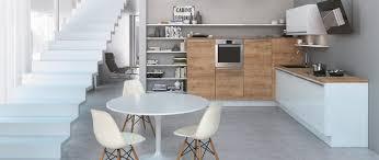 cuisines americaines cuisine équipée blanc brillant et bois mat cuisines avec ilot ou