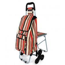 siege de caddie chariot de courses 6 roues avec siège pliable type caddie