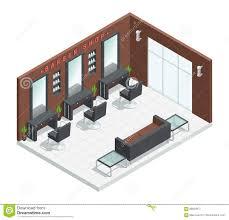 barbershop salon isometric interior stock vector image 88842977