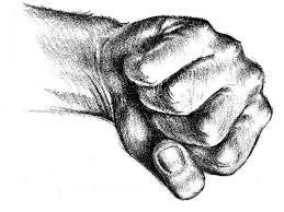fist drawing mitt hand reproduction print 12x16