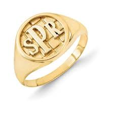 gold monogram ring men s monogram ring 14k gold