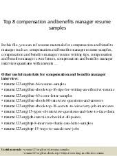 Benefits Manager Resume Top 8 Compensation And Benefits Manager Resume Samples